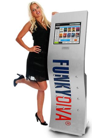 Produktbillede med fotomodel fotograferet ved siden af FunkyDiva Jukebox